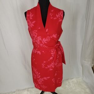 Red Wrap Dress with a Splash of Pink.